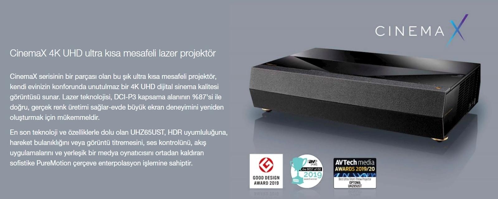 Optoma UHZ65UST CinemaX 4K Projeksiyon Cihazı