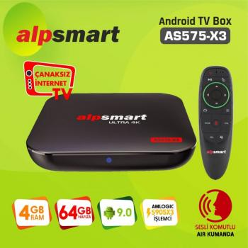 ALPSMART 4K ANDROID BOX  AS575-X3  AIR MOUSE  AND 9.0  4/64 GB